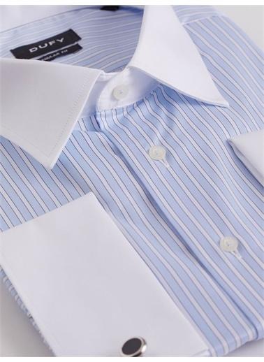 Dufy Mavı Kol Dügmelı Çızgılı Erkek Gömlek - Battal Mavi